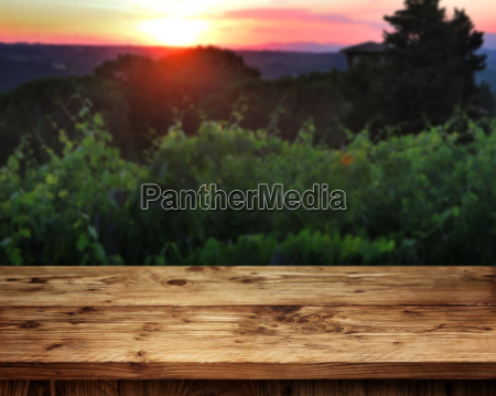 rustic wooden table in front of