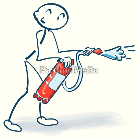 stickm nnchen con extintor de incendios