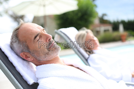 senior man in spa hotel relaxing