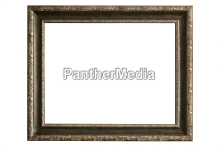 brass picture frame on white background