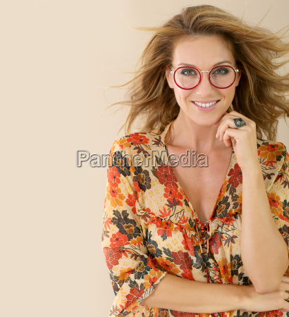 portrait of attractive trendy woman with