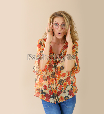 attractive trendy woman with red eyeglasses