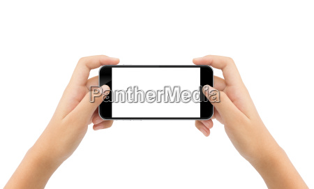 woman hand holding phone isolated white