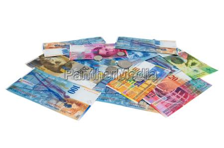 liberado plata monedas aislado suizo monedas