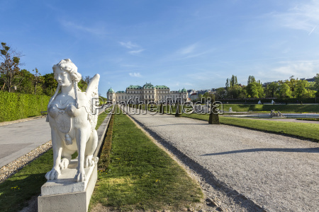 belvedere palace in summer vienna