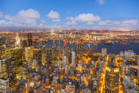 aerial of new york by night