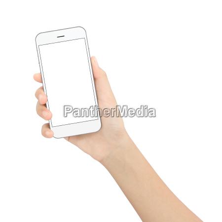 hand holding black phone isolated white