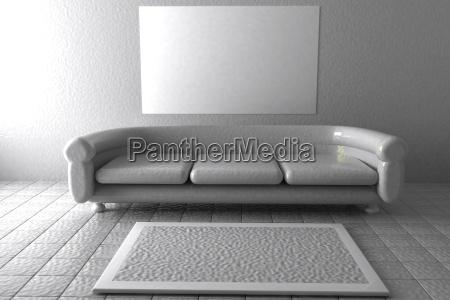 white sofa in white lobby