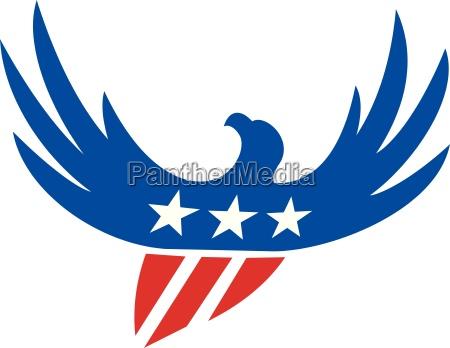 american eagle flying usa bandera retro