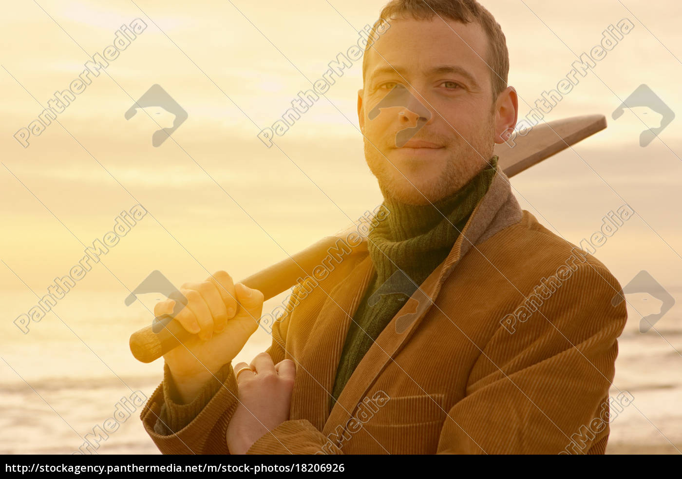 man, on, beach, with, old, cricket - 18206926