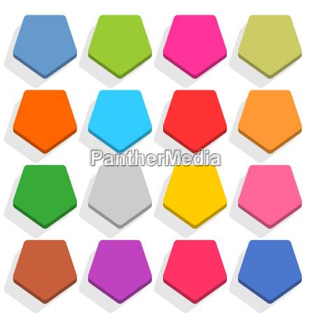 flat blank web button pentagon icon