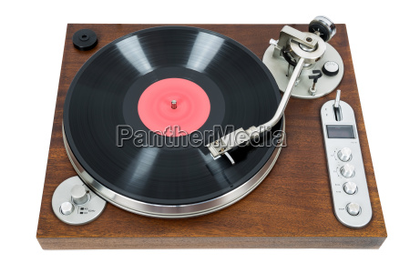 mesa giratoria con disco de vinilo