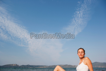 woman enjoying sun