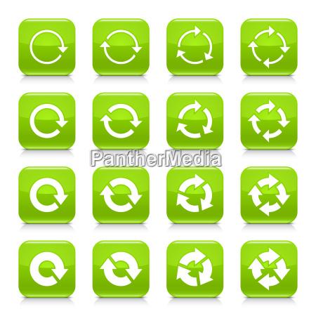 green arrow repeat sign square icon
