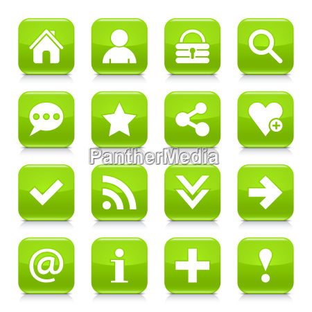green basic sign rounded square icon