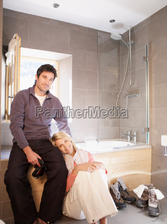 woman, and, man, in, chalet, bathroom - 18306264