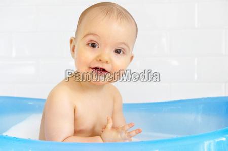 baby boy in bath
