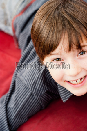 boy looking up to camera