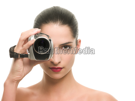 woman with a video camera