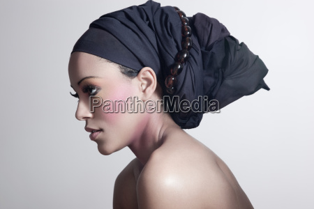 young woman wearing head tie
