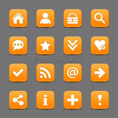 orange satin icon web button with
