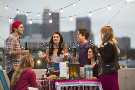 young adult friends having fun at