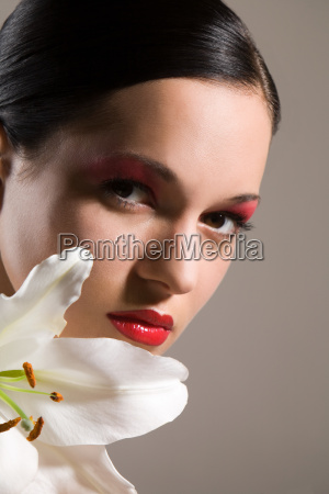 face of a young woman with