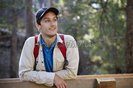 portrait of young male hiker in