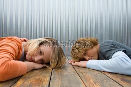 portrait of teenage girl and boy