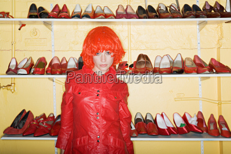 woman wearing a red wig