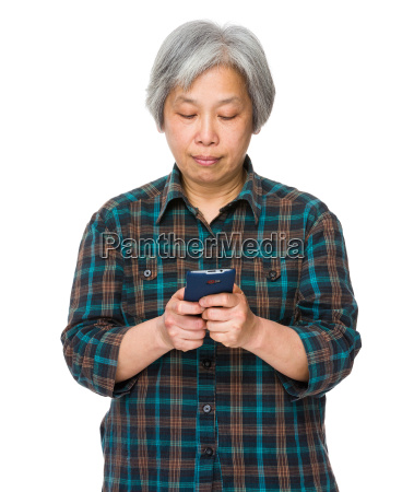 asian old woman play the game