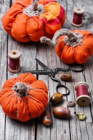 fiesta halloween decoracion calabaza tejido hecho