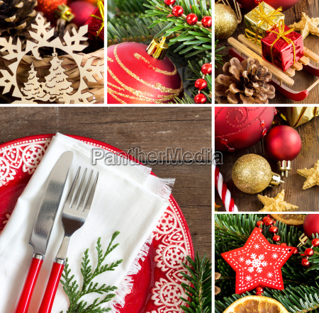 collage with festive table setting