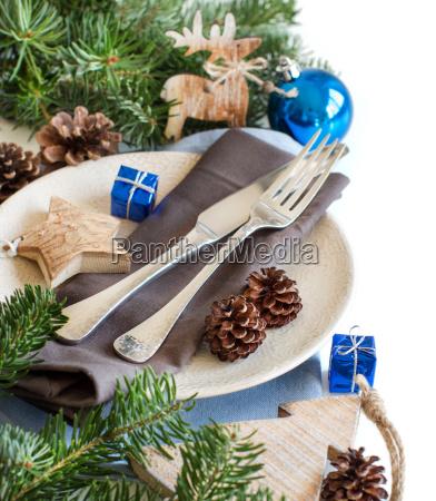 mesa de navidad azul y marron