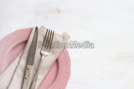 tenedor, y, cuchillo, vintage, con, servilleta - 18980175