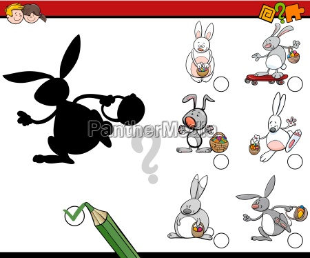 shadow game with easter bunnies