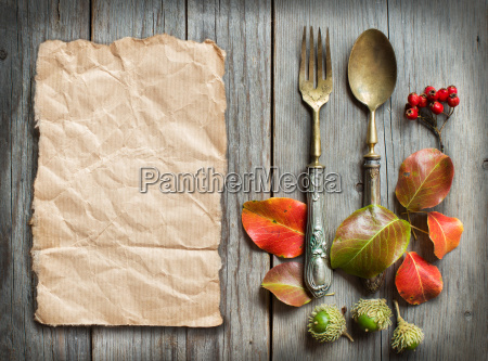 vintage fork and knife with autumn