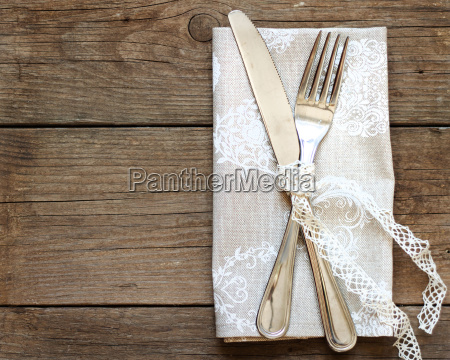 rustic table setting on old wooden