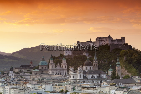sunrise over hohensalzburg fortress and alt