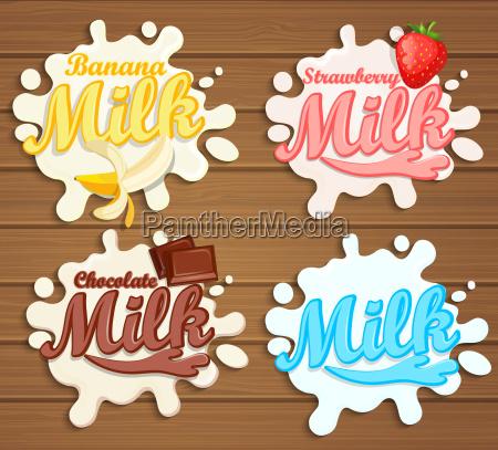 las etiquetas de leche salpican sobre