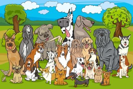 pura raza perro grupo de dibujos