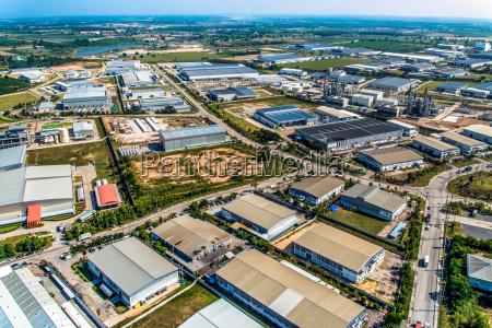 industrial estate land development aerial view