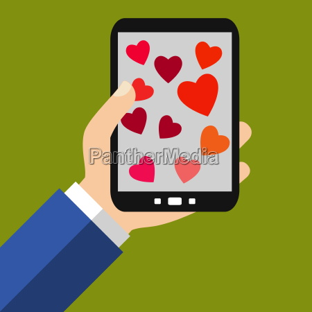 red hearts on the smartphone