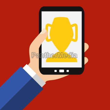cup on the smartphone