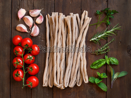 raw italian pasta herbs and