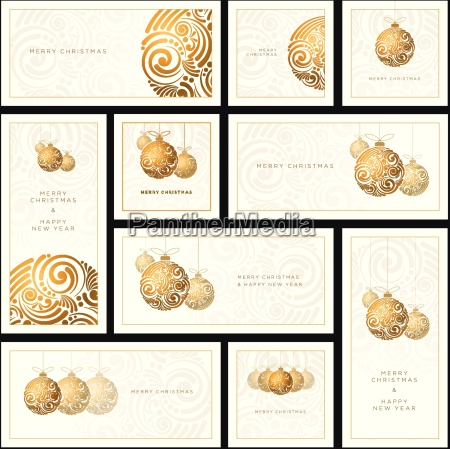 vector christmas white greeting card set