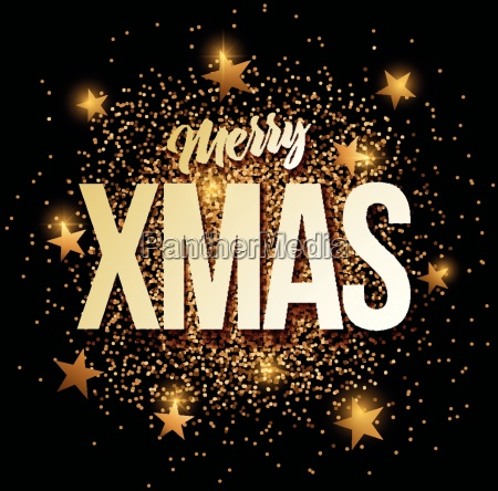 merry xmas banner with gold glitter