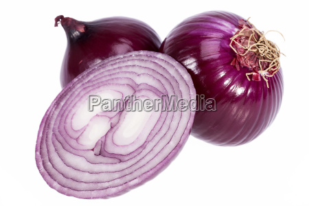 group of red onions isolated on
