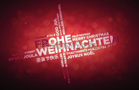 multi lenguaje feliz navidad disenyo tipografico