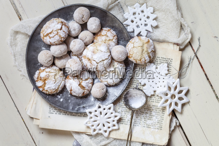 home baked christmas cookies with powdered